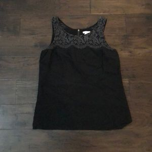 J crew black top with lace detail on top